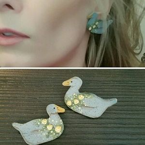 Jewelry - Vintage Hand Painted Boho Duck Earrings
